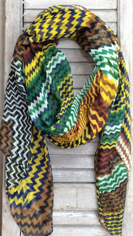 Multi Colored Chevron Print Scarf In Brown