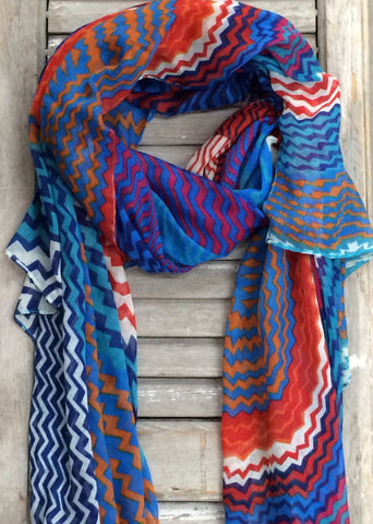 Multi Colored Chevron Print Scarf In Turquoise