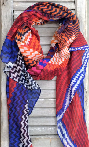 Multi Colored Chevron Print Scarf In Royal