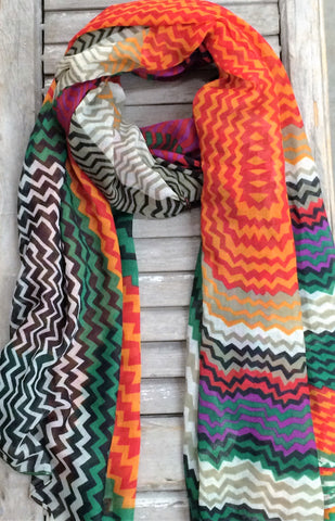 Multi Colored Chevron Print Scarf In Green