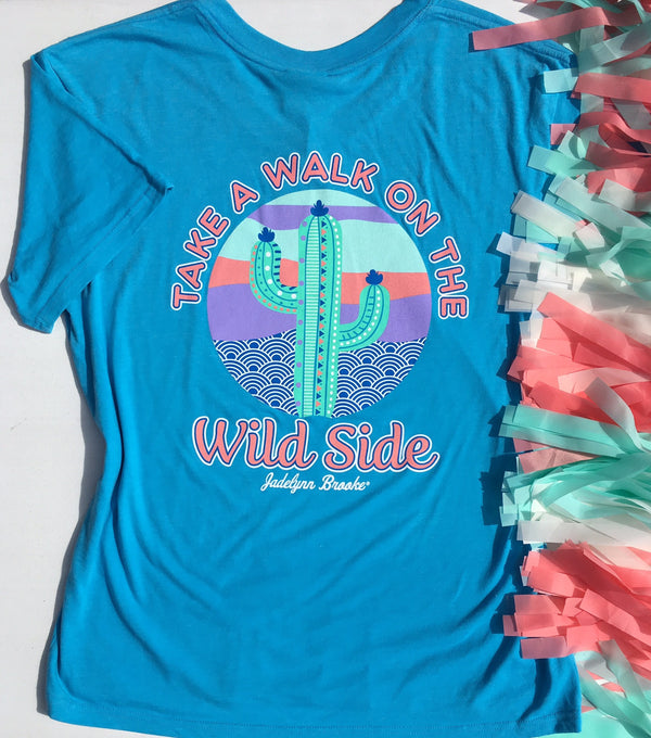 Take A Walk On The Wild Side Short Sleeve Tee Shirt in Blue