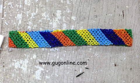 Beaded Headband in Orange, Blue, Green and Yellow Stripe