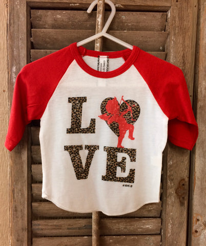 Babies Cheetah Love Cupid Red Baseball Tee