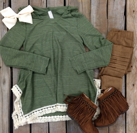 Childrens: Snuggle Sweetheart Hoodie with Tassel Trim in Olive