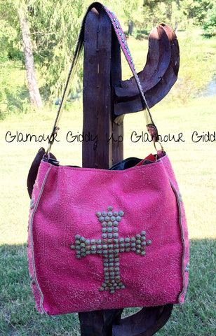 Kurtmen Designs Hot Pink Crackle with Turquoise Nailhead Cross