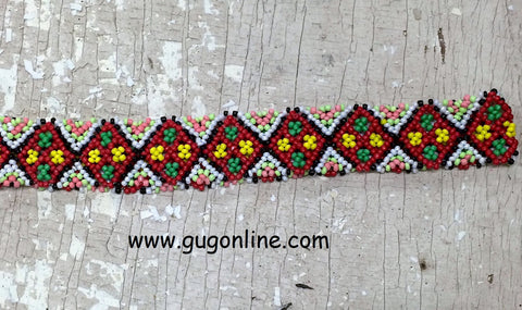 Beaded Headband in Red, Yellow, and Green Diamond