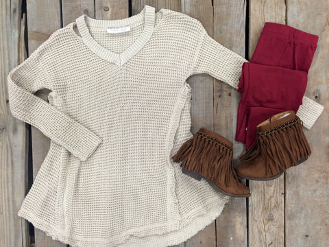 Childrens: Worth The Wonder Knit Cold Shoulder Tunic in Ivory