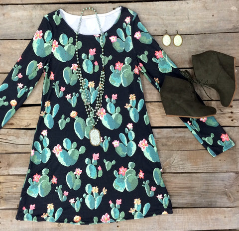 All in Good Time Cactus Print A Line Dress in Black