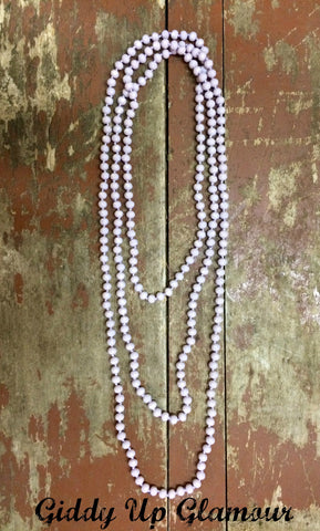 80 Inch Long Strand Crystal Necklace in Lavender
