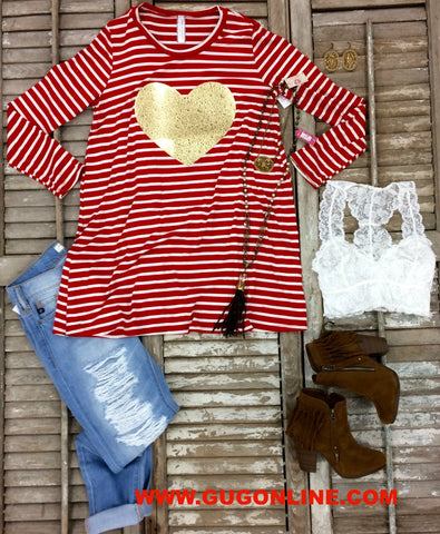 Love Is Blind Red and White Striped Tunic With Gold Heart