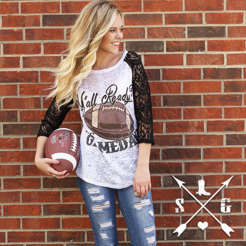Adults: Y'all Ready? It's Gameday Football White Baseball Tee