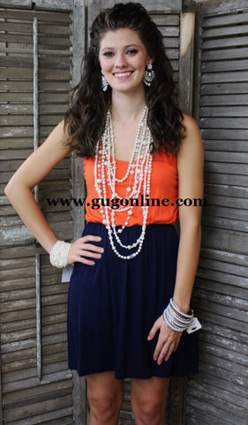 Gameday Gal Dress in Navy and Orange