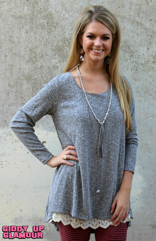 A Fall Affair Flair Sweater Tunic in Heather Black