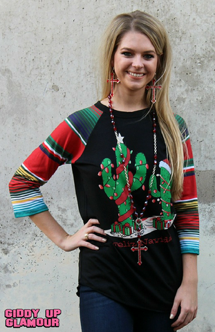 Feliz Navidad Cactus Baseball Tee with Serape Sleeves