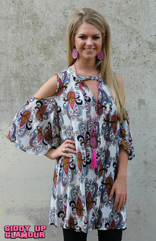 Air of Romance Open Shoulder Paisley Tunic