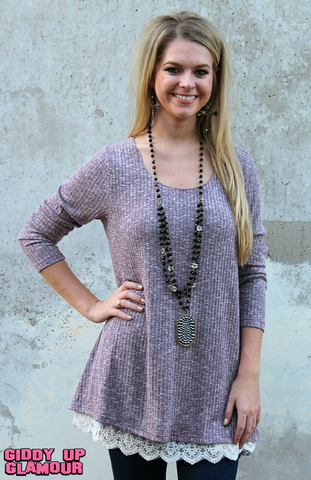 A Fall Affair Flair Sweater Tunic in Heather Maroon