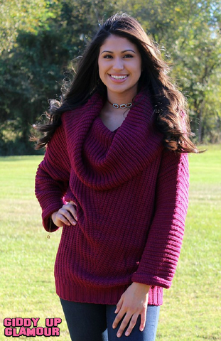 A Moment in Time Cowl Neck Ribbed Sweater in Maroon