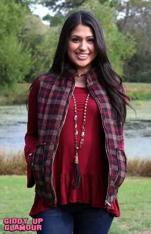 What I Wish Quilted Puff Plaid Vest