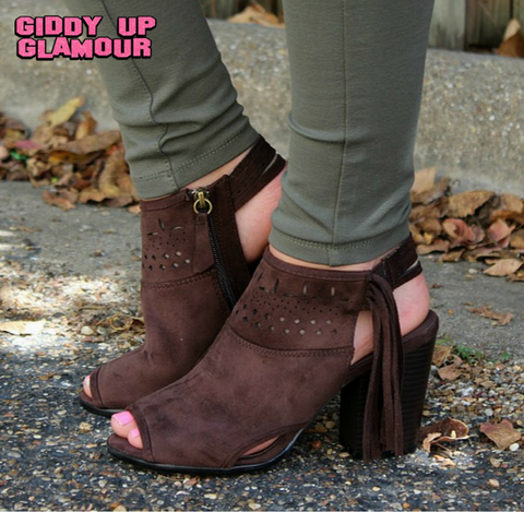 Heeled Open Toe Ankle Bootie in Chocolate Brown