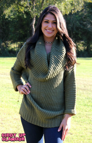 A Moment in Time Cowl Neck Ribbed Sweater in Olive