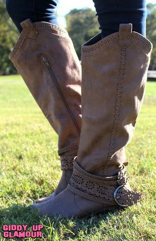 Lady Swag Tall Riding Boots with Buckle in Taupe