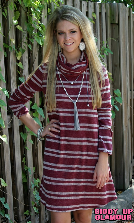 Cold Rush Stripe Cowl Neck Sweater Dress in Maroon
