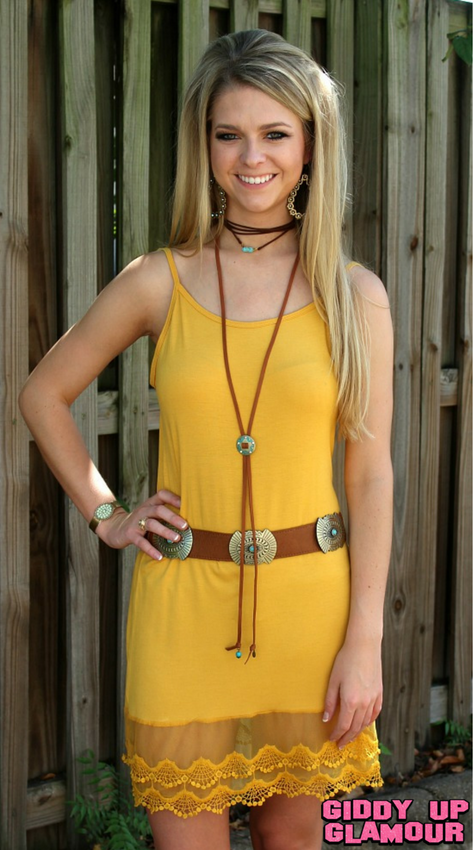 Cut to the Lace Cami Slip with Lace Trim in Mustard Yellow