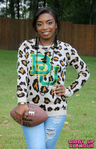 Game Day Collection: Wild Instincts Baylor Leopard Sweater