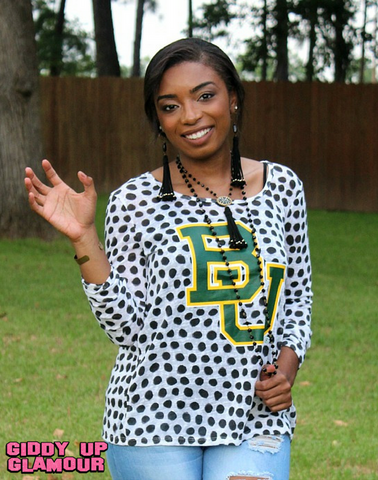 Game Day Collection: Ace The Test Baylor Polka Dot Open Back Sweater