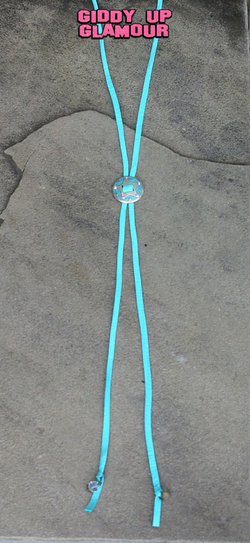 Pink Panache Leather Bolo Tie in Turquoise