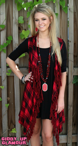 Cabin Weekend Plaid Vest with Fringe Trim in Red