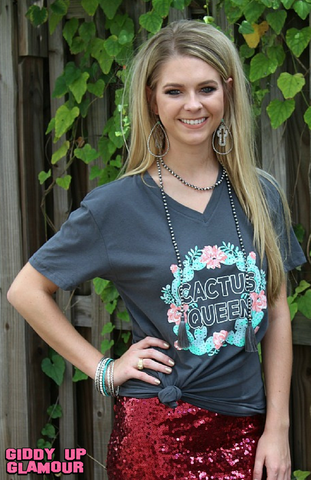 Cactus Queen Short Sleve V Neck Shirt