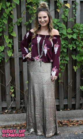 Leave a Little Sparkle Sequin Maxi Skirt in Rose Gold