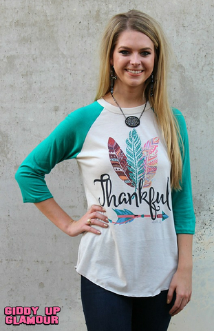 Thankful Feather Baseball Tee with Turquoise Sleeves