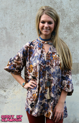 Change of Scenery Floral Trapeze Blouse