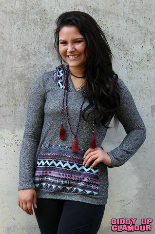 Up a Notch Charcoal and Aztec Hoodie