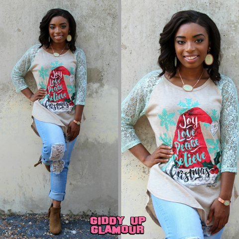 Joy, Love, Peace, Believe Christmas Baseball Tee with Mint Lace Sleeves