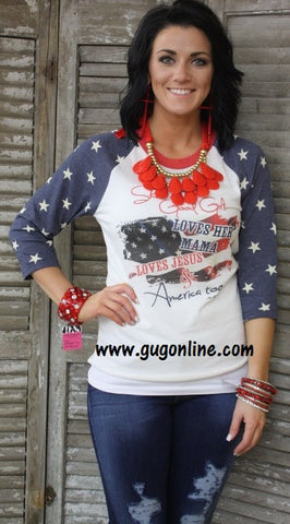 Good Girl Blue and White Stars Baseball Tee