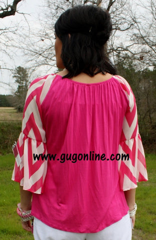 Gotta Get Going Hot Pink and White Chevron Top