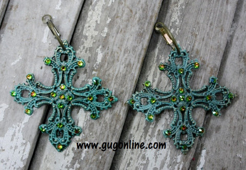 Green Crystals on Turquoise Chopper Cross Earrings
