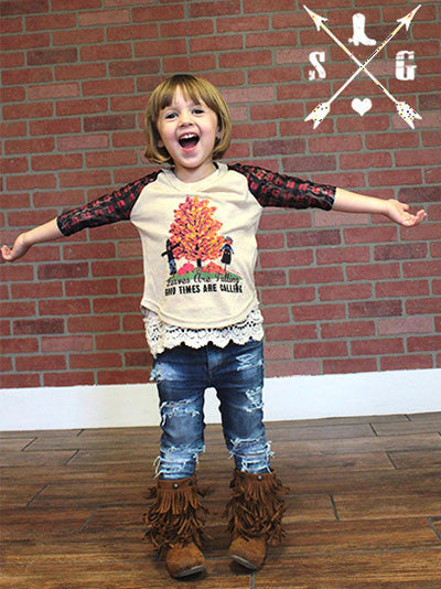 Childrens: Leaves are Falling Good Times are Coming Fall Baseball Tee with Red Plaid Lace Sleeves