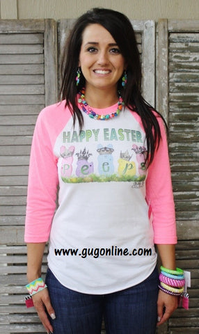 Happy Easter Peeps Neon Pink Baseball Tee