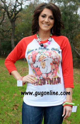 Have a Holly Jolly Christmas Red Baseball Tee