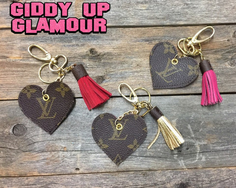 Authentic Upcycled and Recycled Louis Vuitton Monogram Canvas Heart Charm with Snap On and Key Fob and Mini Tassel