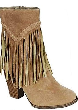 Tall Fringe Ankle Zipper Bootie in Beige