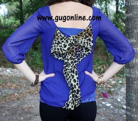 Sheer Royal Top with Leopard Bow