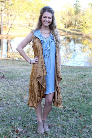 All My Wishes Lace Up Sleeveless Denim Dress