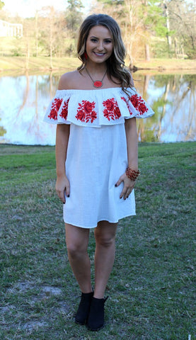 Romantic Side Off Shoulder Embroidery Dress in White