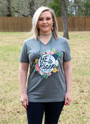 He Is Risen Floral Short Sleeve Tee Shirt in Heather Grey