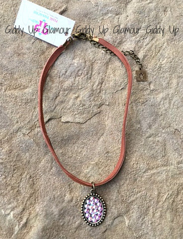 Pink Panache Saddle Tan Choker with Bronze Oval with AB Crystals
